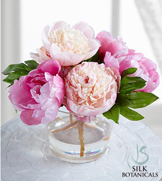 Silk Botanicals Mixed Pink Peonies in Glass Vase - Click Image to Close