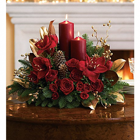 Candlelit Christmas Centerpiece - Click Image to Close