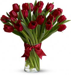 The Radiant Red Tulips Bouquet