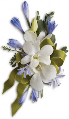 Blue And White Elegance Corsage - Click Image to Close