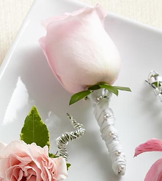 Pink Rose Boutonniere - Click Image to Close
