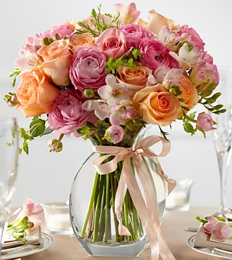 Peach Silk Fresh Arrangement - Click Image to Close