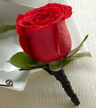 One Rose Boutonniere - Red - Click Image to Close