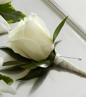 One Rose Boutonniere - White - Click Image to Close