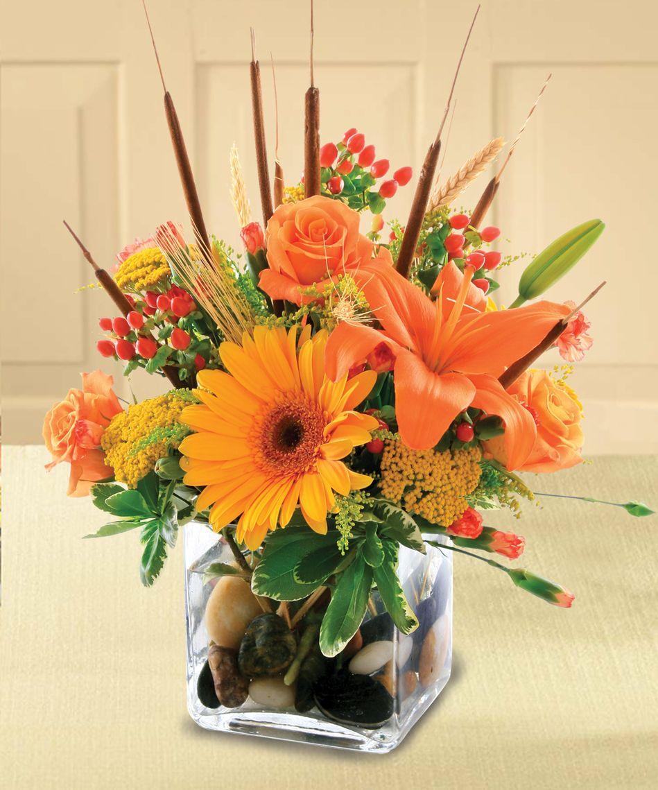 Autumn in a Cube Arrangment - Royal Fleur Florist - Larkspur, CA 94939