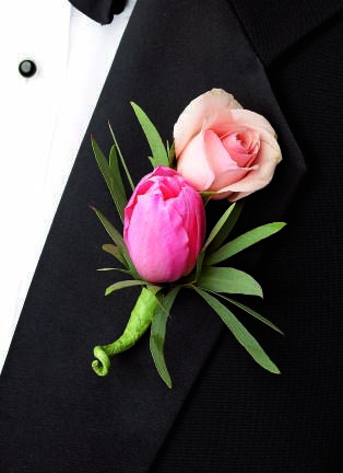 Pink Cascade Boutonniere - Click Image to Close